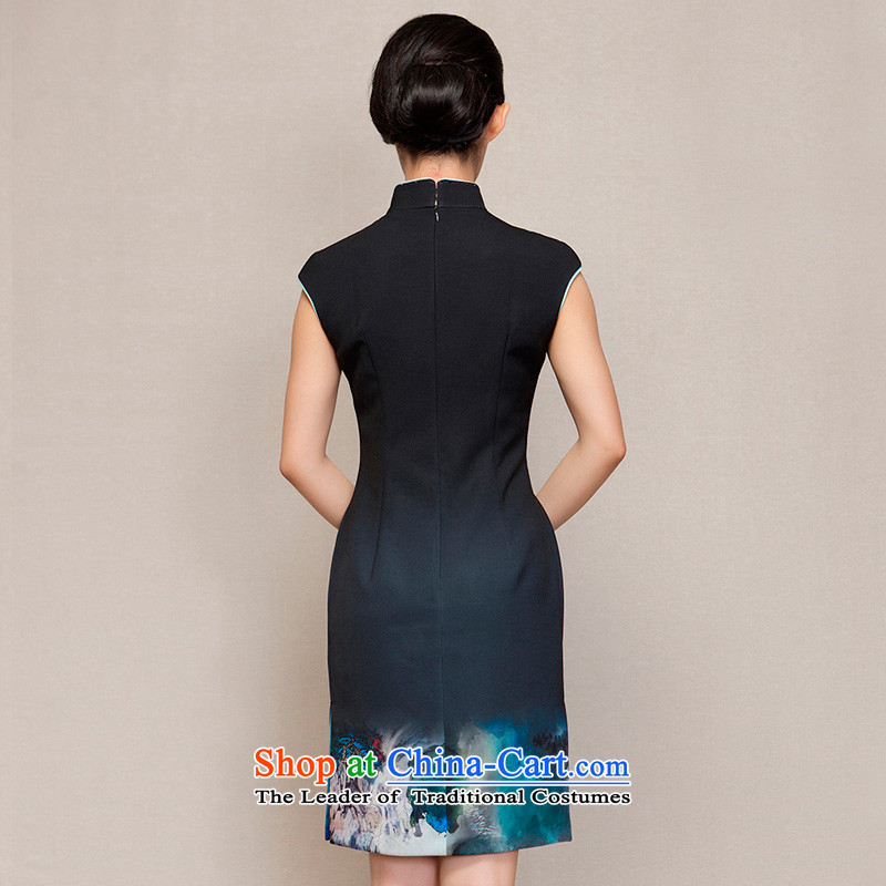 Wooden spring of 2015 really new short of Qipao Sau San video thin winter dresses 32616 01 black聽wood really a , , , M shopping on the Internet