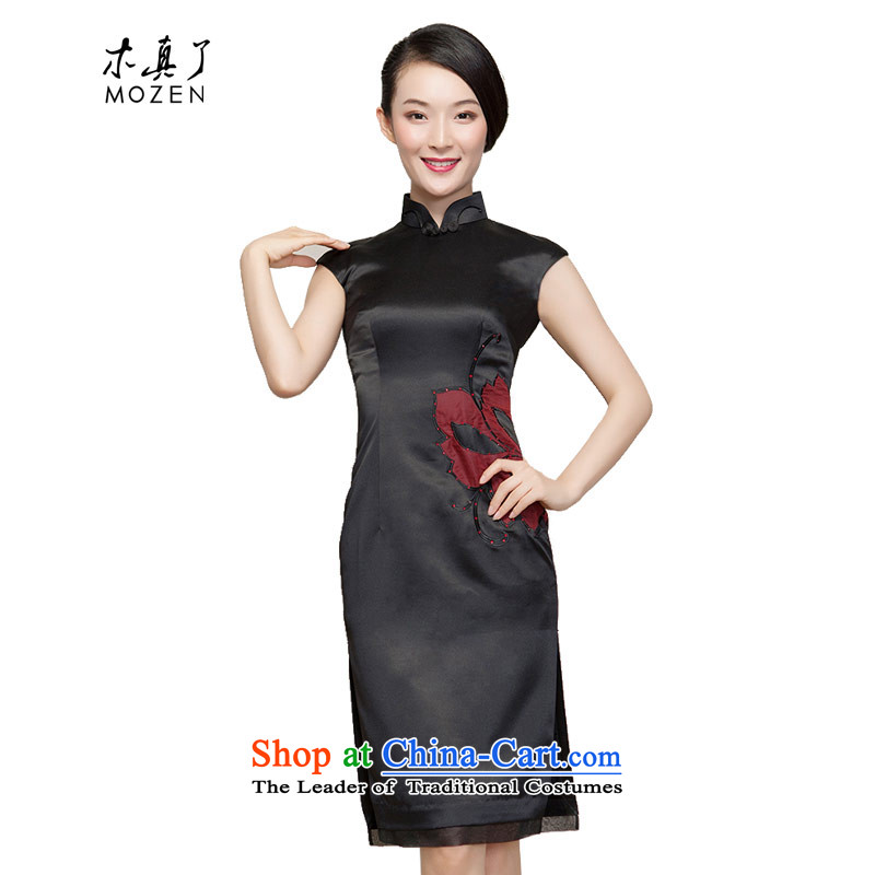 Wooden spring and summer of 2015 really new dresses to subsidize the spelling of embroidered waist short of Qipao 80537 of 01 Black M