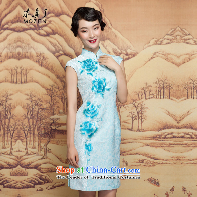 Wooden spring of 2015 really new short winter cheongsam dress 32392 11 light blue燲XL