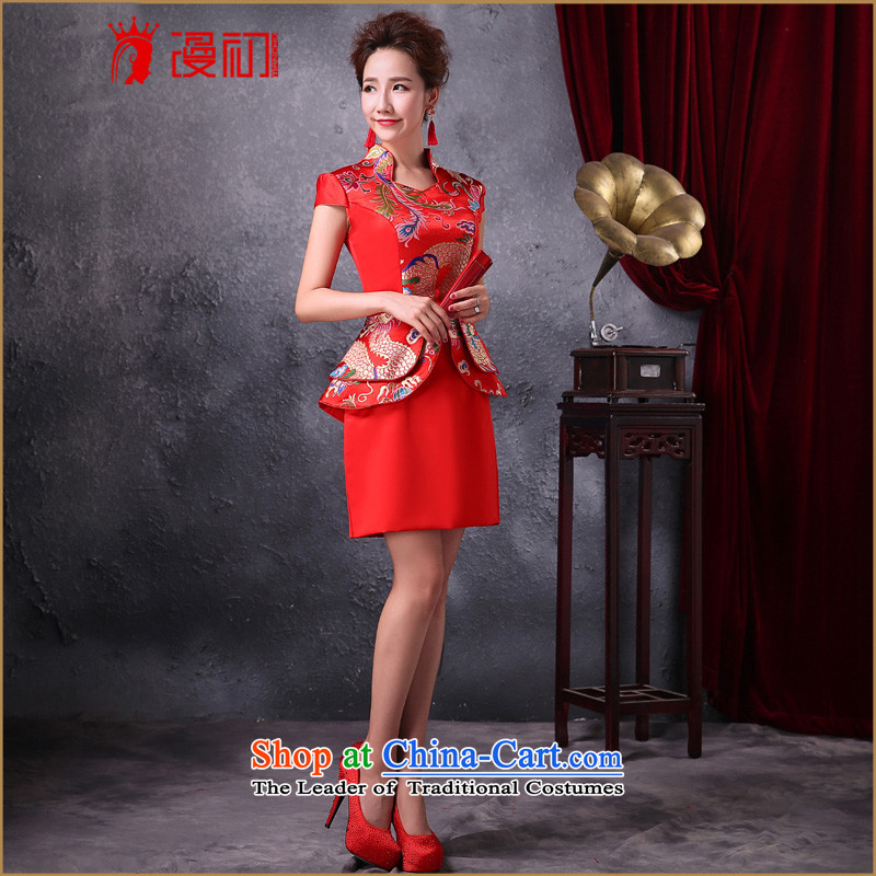 In the early 2015 new definition of improved services toasting champagne brides qipao red retro fashionable individual dresses will female red燲XL