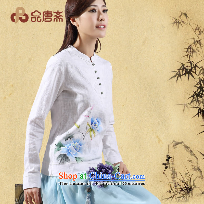 No. of Ramadan 2014 Autumn Load Tang new cotton linen ethnic long-sleeved white聽L Cheongsam