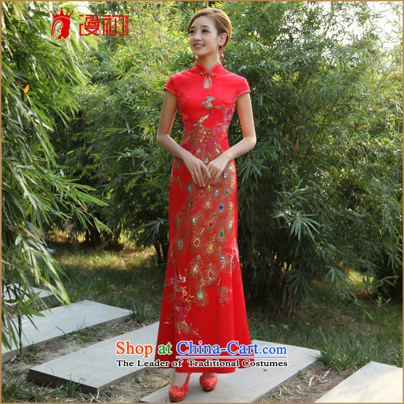 The early marriages improvement spread cheongsam dress?2015 new long qipao retro crowsfoot long cheongsam red?XXL