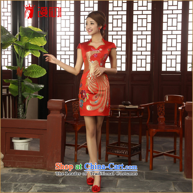 In the early 2015 new man with short of autumn qipao Sleek and Sexy small V-Neck Chinese cheongsam dress uniform toasting champagne improved red?XXL