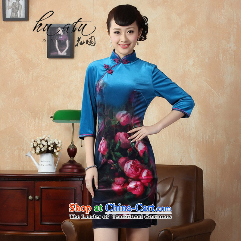 It fall inside the new cheongsam Tang dynasty women's Mock-neck Stretch Wool poster retro Kim improvement short-sleeved qipao�2XL