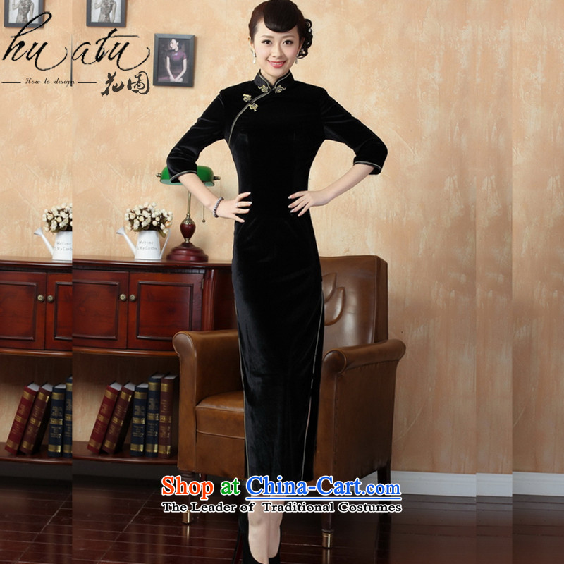 It fall inside the new Tang Women's clothes qipao pure color and the Stretch Wool long qipao Kim seventh聽T0001-a 3XL cuffs