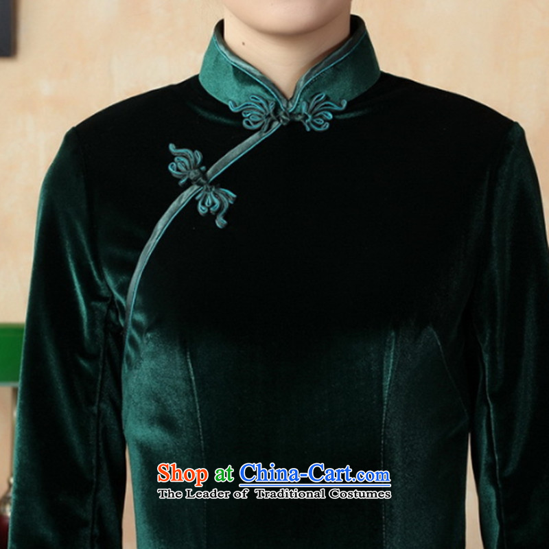 It fall inside the new Tang Women's clothes qipao pure color and the Stretch Wool long qipao Kim 7 cuff聽T0001-a 3XL, floral shopping on the Internet has been pressed.