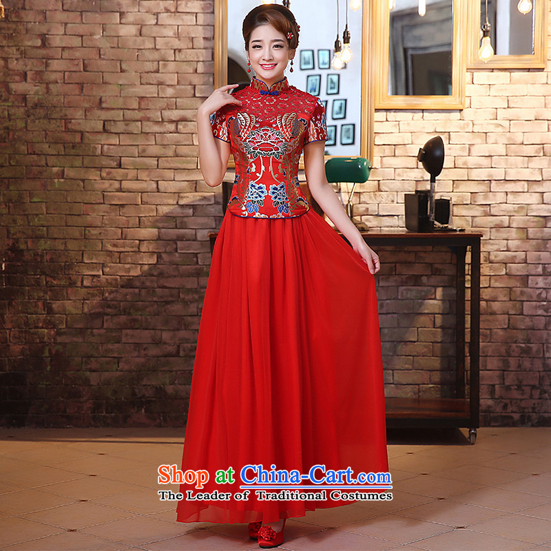 The HIV qipao 2015 new marriages long red bows services improved retro engraving lace stitching Chinese Dress燪0027燫ED燲XL