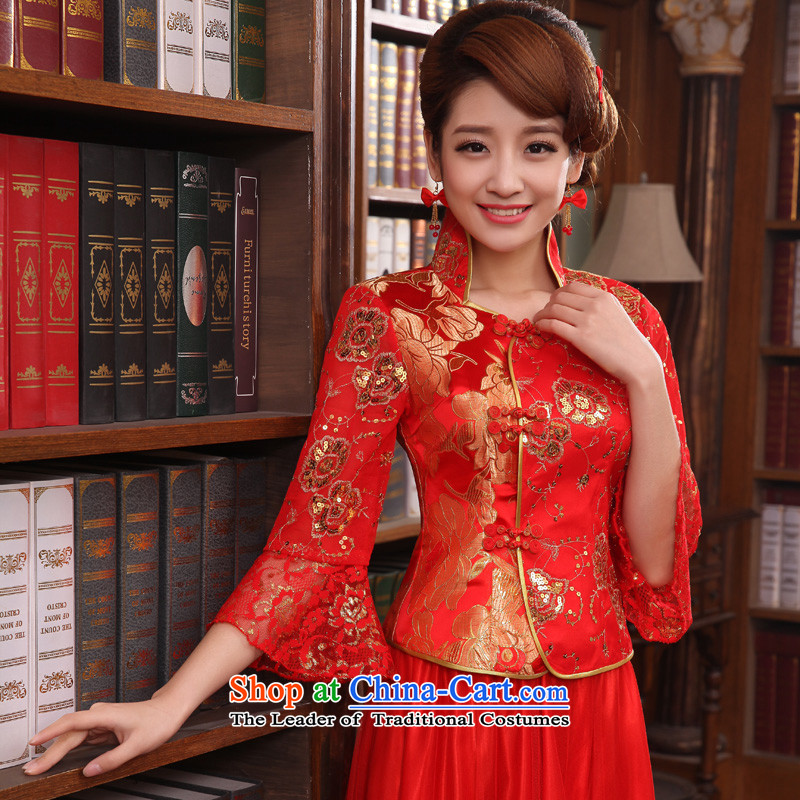 The privilege of serving-leung new Fall 2015 Chinese red color with bride Wedding dress-bows sleeve length in serving cheongsam dress?3XL