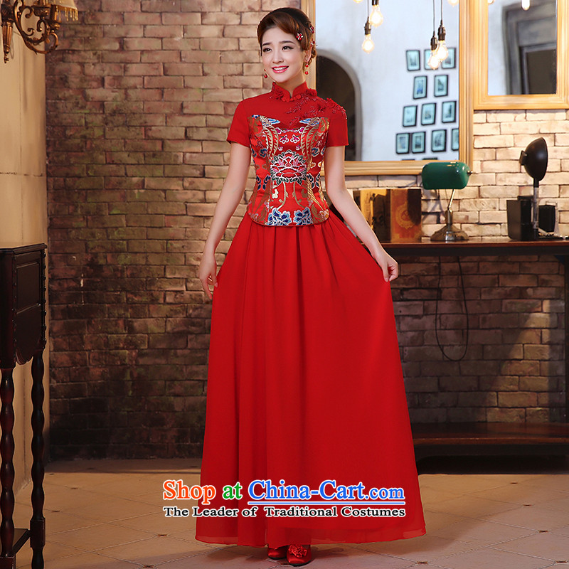 The HIV qipao 2015 new marriages long red bows to Lace Embroidery retro improved Chinese Dress聽Q0028聽RED聽XL