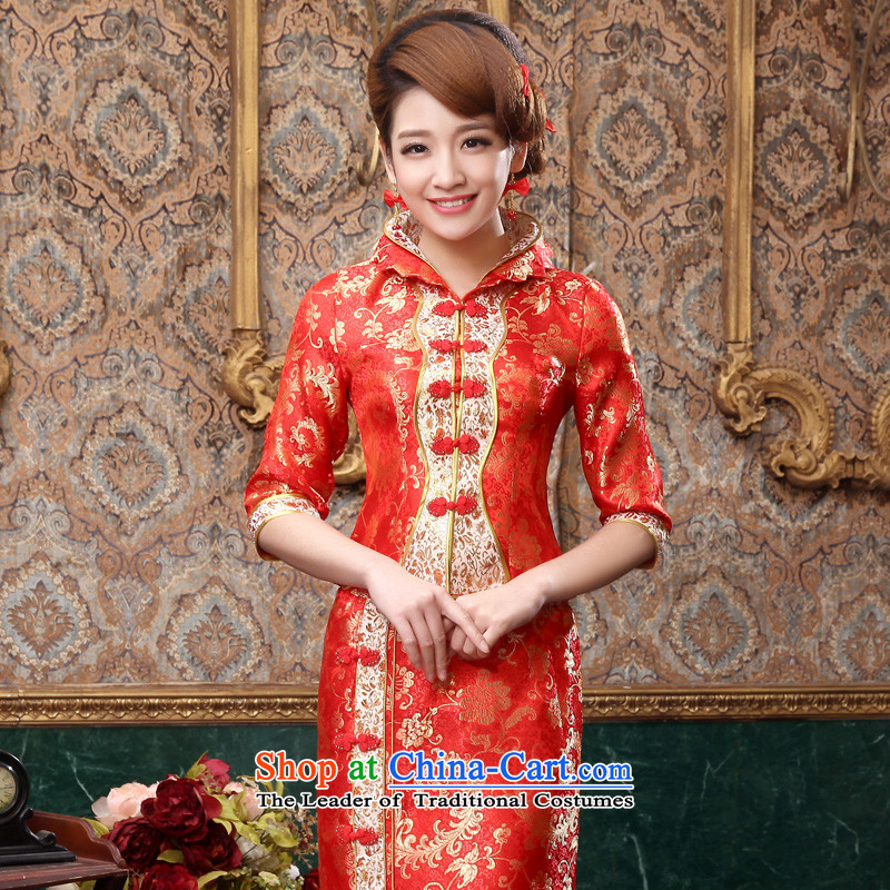 The privilege of serving-leung 2015 new bride with red in the autumn wedding dress Chinese wedding dress long service in the bows qipao long-sleeved skirt�L