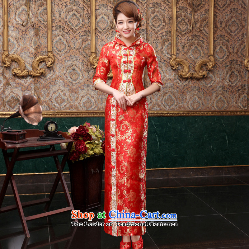 The privilege of serving-leung 2015 new bride with red in the autumn wedding dress Chinese wedding dress long service in the bows qipao sleeve length skirts?, L, the honor of serving the-leung , , , shopping on the Internet