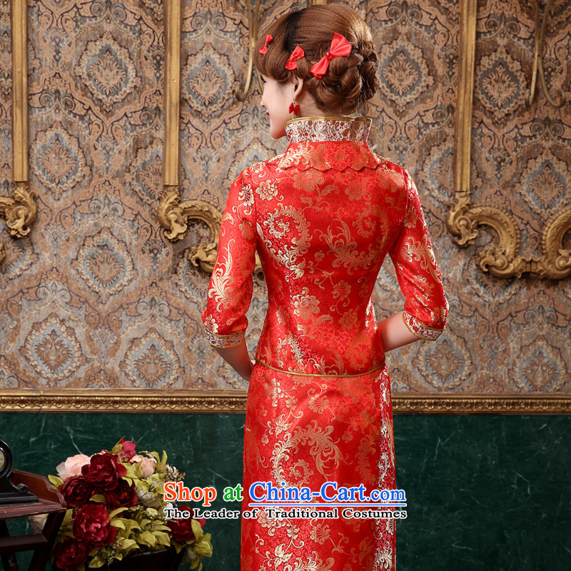 The privilege of serving-leung 2015 new bride with red in the autumn wedding dress Chinese wedding dress long service in the bows qipao sleeve length skirts , L, the honor of serving the-leung , , , shopping on the Internet