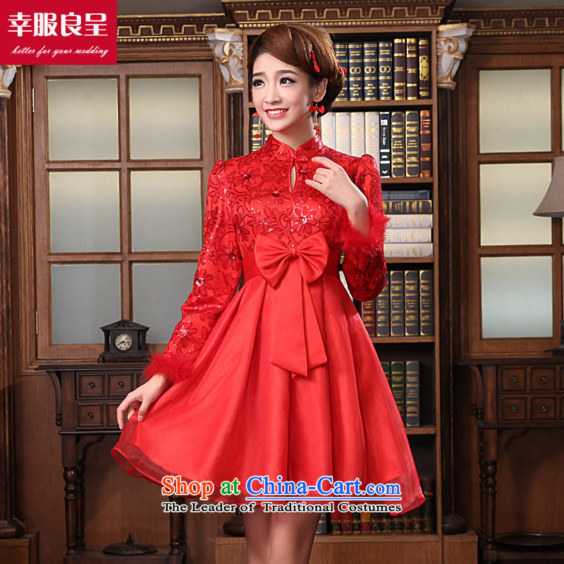 The privilege of serving-leung 2015 Fall/Winter Collections new bride Wedding Dress Short of qipao bows to Red Top Loin of winter, pregnant women?XL