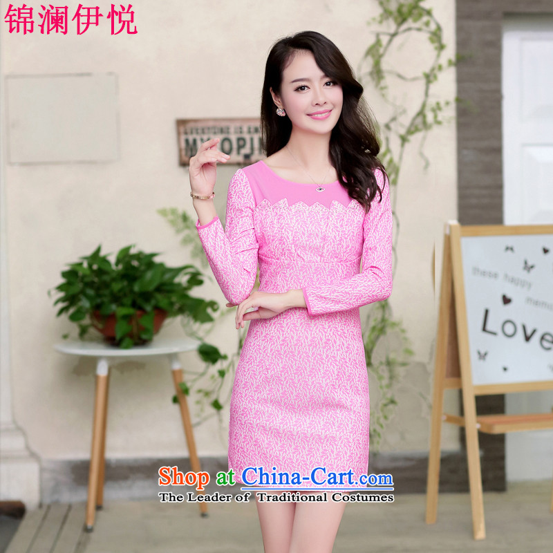 The world of Kam Yuet spring and autumn 2014 new women's dresses sweet gentlewoman Sau San video thin lace cheongsam dress dresses improved daily Chinese Dress bride in the red stated load M