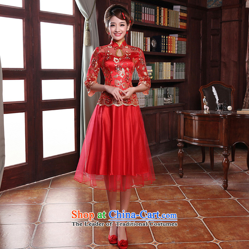 The privilege of serving-leung 2015 new bride red autumn Chinese wedding dress Wedding Dress Short of qipao bows in short-sleeved dress?XL