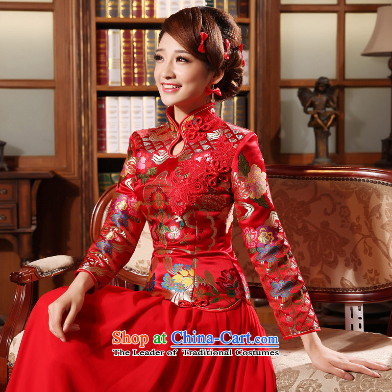 The privilege of serving-leung 2015 new bride of autumn and winter load wedding dress long-sleeved red Chinese cheongsam dress bows in cuff_�L