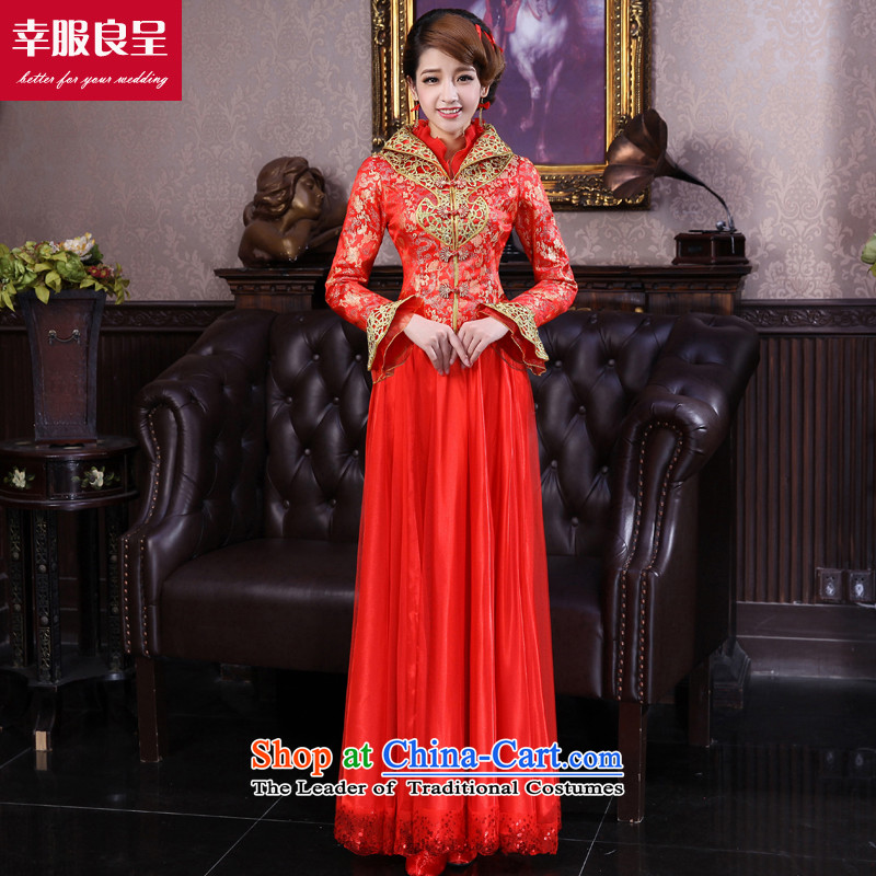 The privilege of serving-leung 2015 Fall_Winter Collections new bride red wedding dress larger thick MM qipao bows services, cotton 5XL winter folder