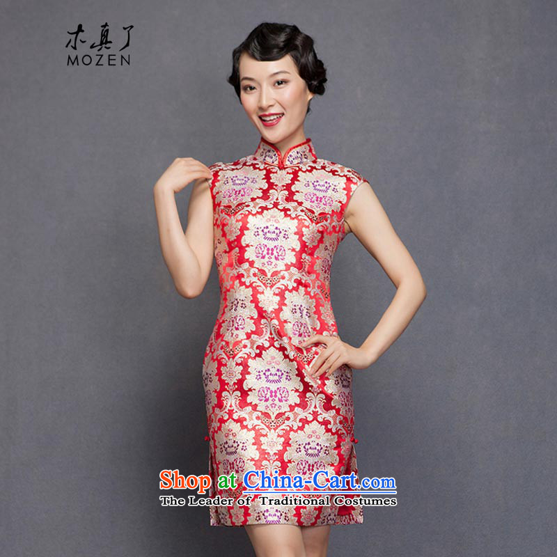 The spring of 2015 really   New elegant silk cheongsam dress Sau San marriages bows dress 21890 05 light red燤