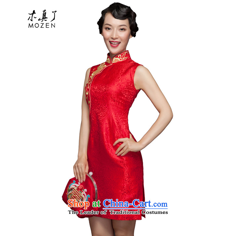 The spring of 2015 really   New Silk Cheongsam dress embroidered with bride marriage bows dress 32488 04 deep red燣