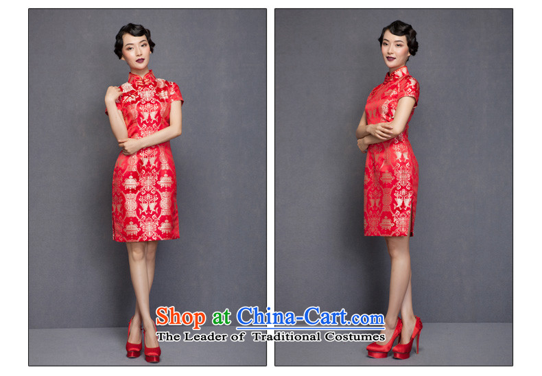 The spring of 2015 really : New Silk Cheongsam dress bridal dresses 32651 marriage with bows 04 deep red聽L picture, prices, brand platters! The elections are supplied in the national character of distribution, so action, buy now enjoy more preferential! As soon as possible.