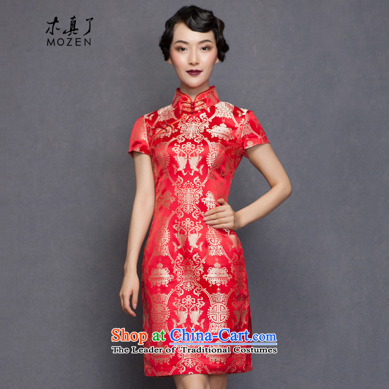 The spring of 2015 really   New Silk Cheongsam dress bridal dresses 32651 marriage with bows 04 deep red燣
