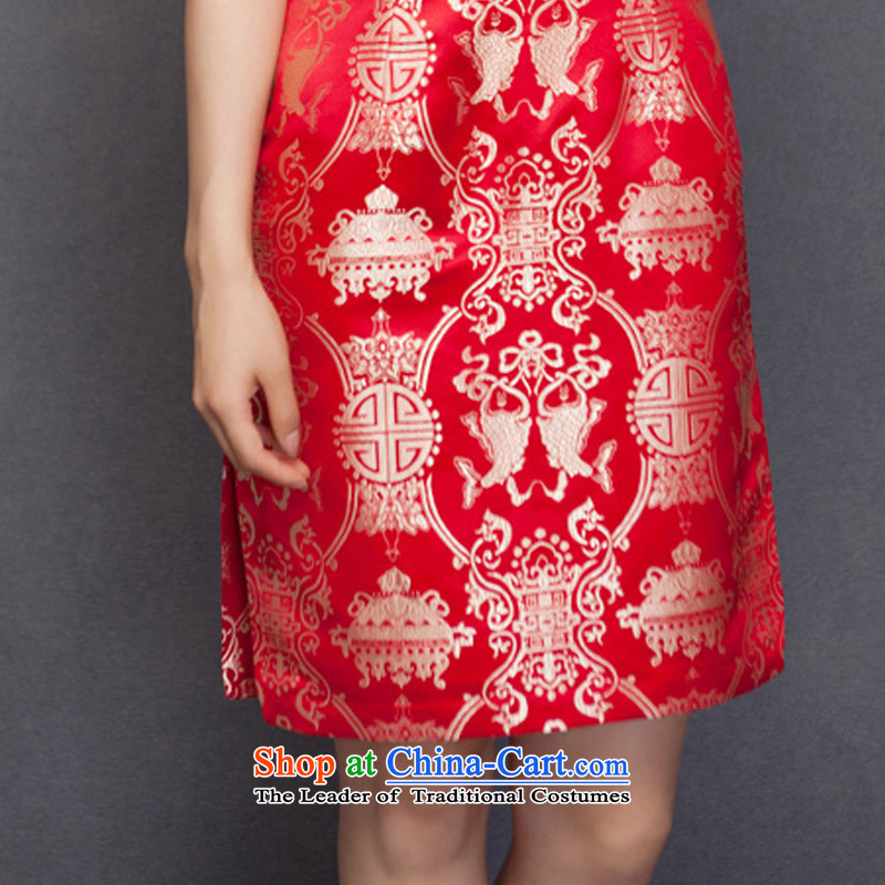 The spring of 2015 really : New Silk Cheongsam dress bridal dresses 32651 marriage with bows 04 deep red聽wood really a , , , L, online shopping