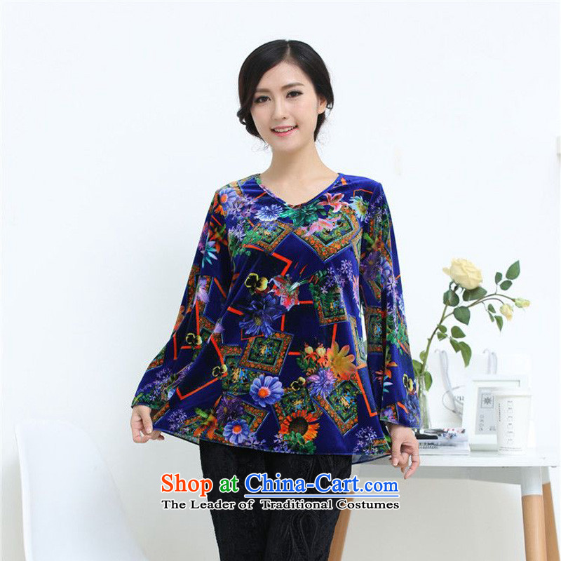 The 2014 autumn-jae on Tang T-shirts loose mother boxed bat Sleeves Blouse SYM-902 Kim scouring pads blue�XXL