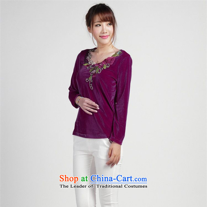 The 2014 autumn-jae on Tang blouses loose larger Kim T-shirt SYM-904 velvet stamp picture color燲XL