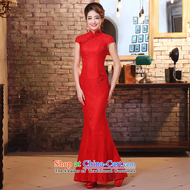 The HIV爊ew marriage 2015 qipao bride bows services lace crowsfoot long gown of nostalgia for the improvement of Chinese Sau San燪0032燫ED燣