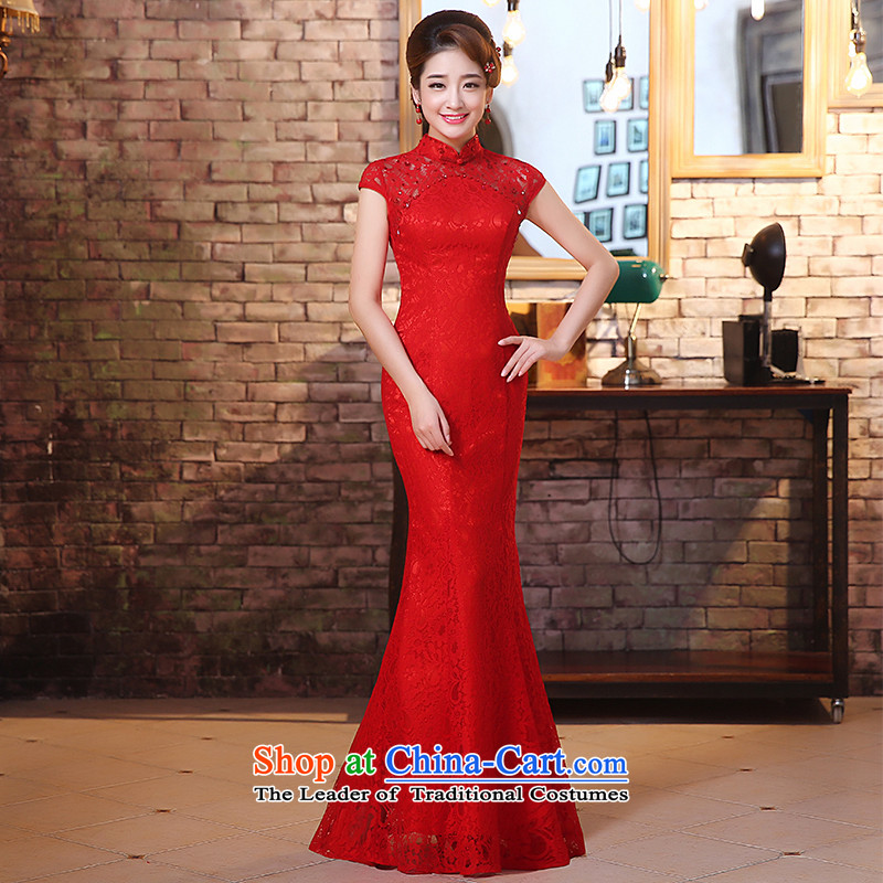The HIV?new marriage 2015 qipao bride bows services lace crowsfoot long antique Chinese Dress?Q0031 improved Sau San?RED?M