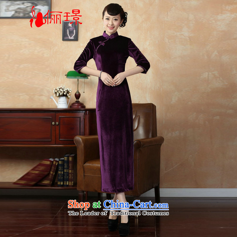 158 Jing Chinese improved cheongsam dress long skirt superior Stretch Wool qipao seven gold cuff聽-B VIOLET聽L