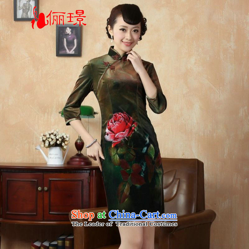 158 Jing Chinese improved retro cheongsam dress collar Stretch Wool in short-sleeved Kim qipao Army Green燬