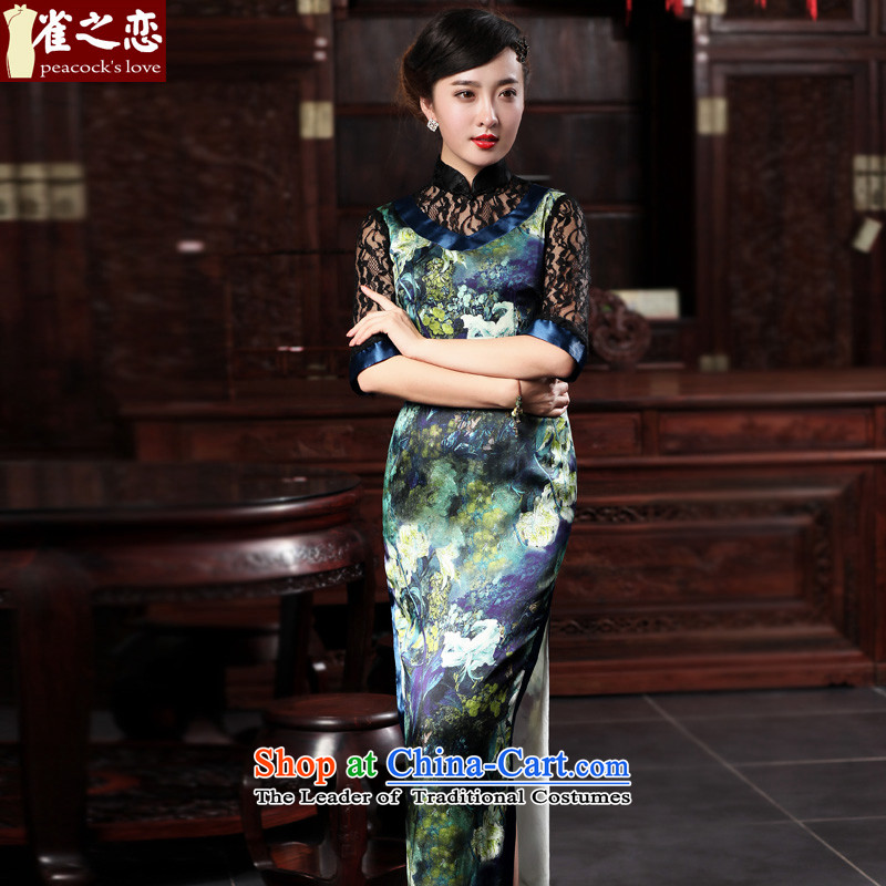 The Sonata of birds deep display?2015 Spring New cheongsam dress temperament elegant lace stitching improved Silk Cheongsam long figure?S