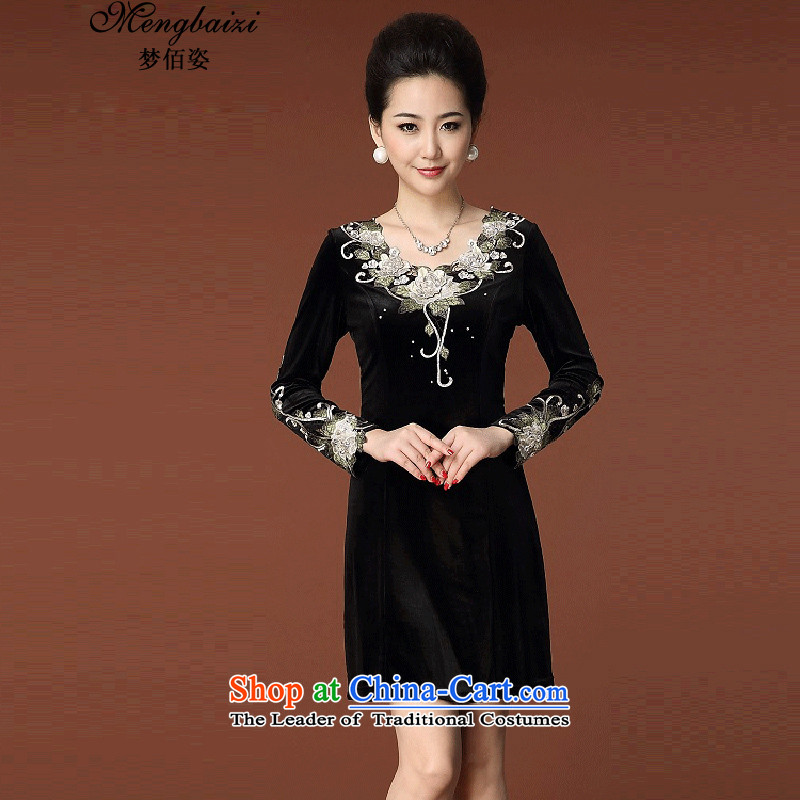Dream Bai燦ew 2015 Gigi Lai larger female skirt embroidered long-sleeved Kim scouring pads temperament Sau San dresses燪P948_燽lack�L