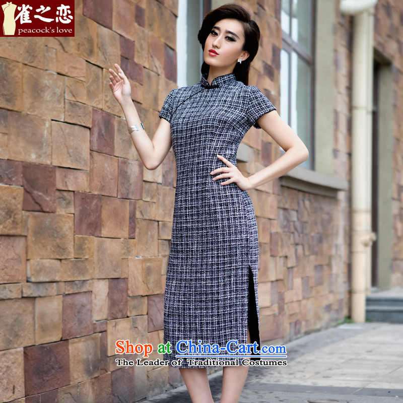 Love of birds spent Garden�15 Spring New retro long gross cheongsam dress black and white checkered?燤