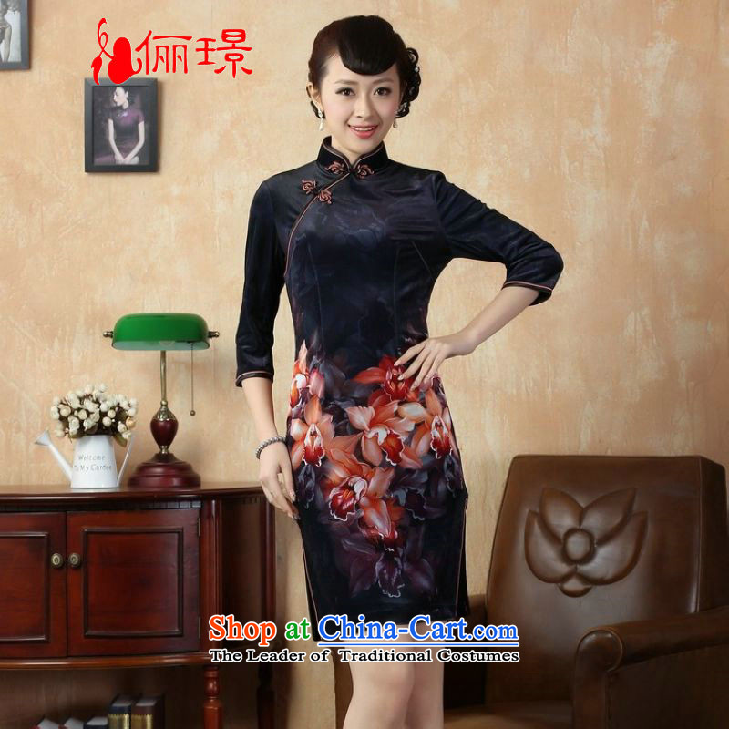 Ms. Katherine cheongsam dress to skirt Stretch Wool poster stylish Kim in classic dark blue qipao short-sleeved?XL