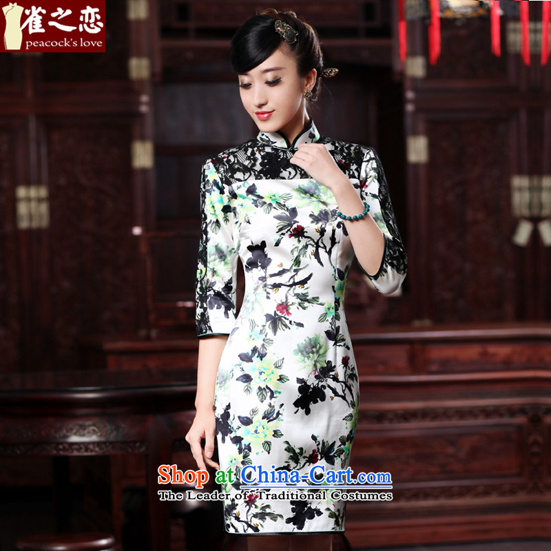 Love birds light?spring 2015 new cheongsam dress improved stylish lace stitching of 7 short-sleeved Silk Cheongsam, Figure?XXL