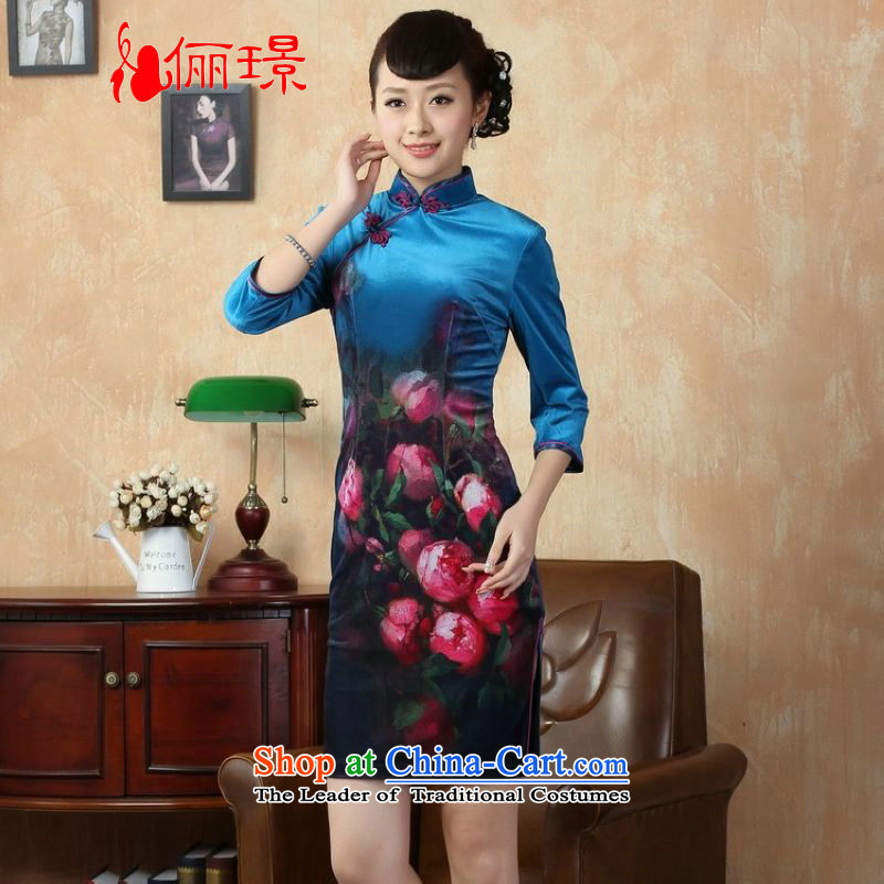 158 Jing improved Kim scouring pads poster sleek in short-sleeved qipao cheongsam dress Ms. dresses, Cyan聽S