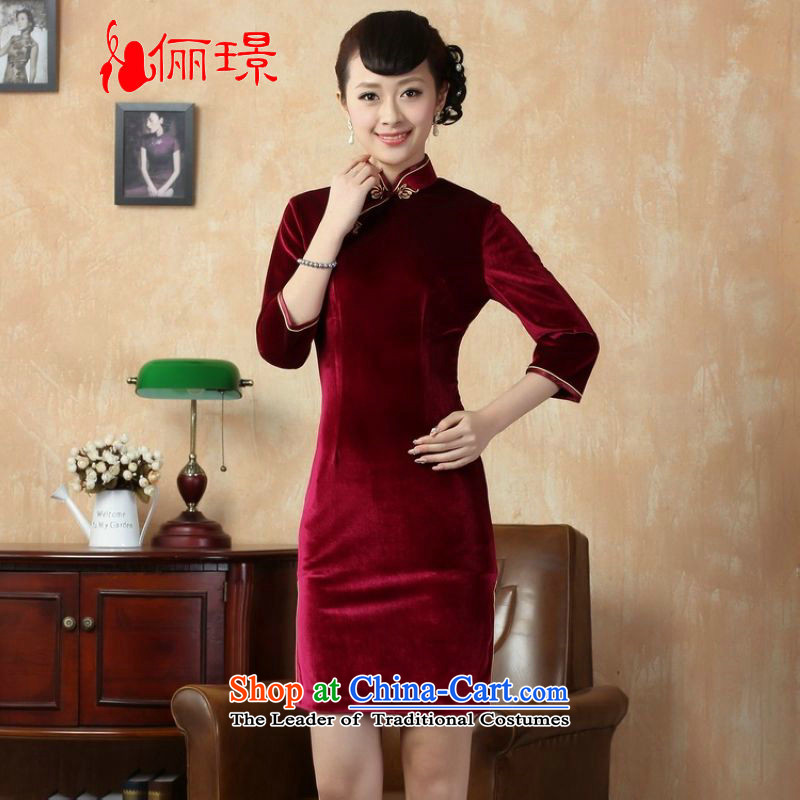 Ms. Katherine cheongsam dress to skirt the solid color and the Stretch Wool qipao seven really cuff wine red燲L