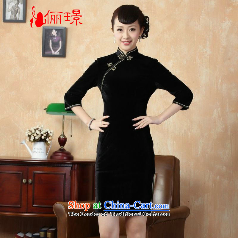 Ms. Li Jing improved qipao pure color and the Stretch Wool qipao seven gold cuff -A black S