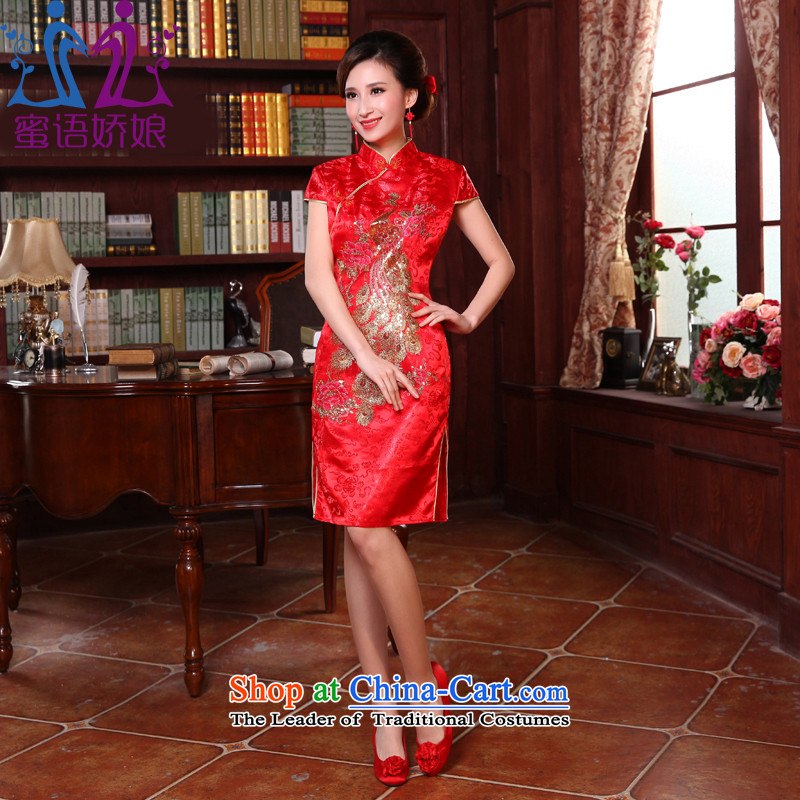 Talk to her new 2015 short-sleeved Chinese qipao marriages toasting champagne improved service, evening dresses red L load bride