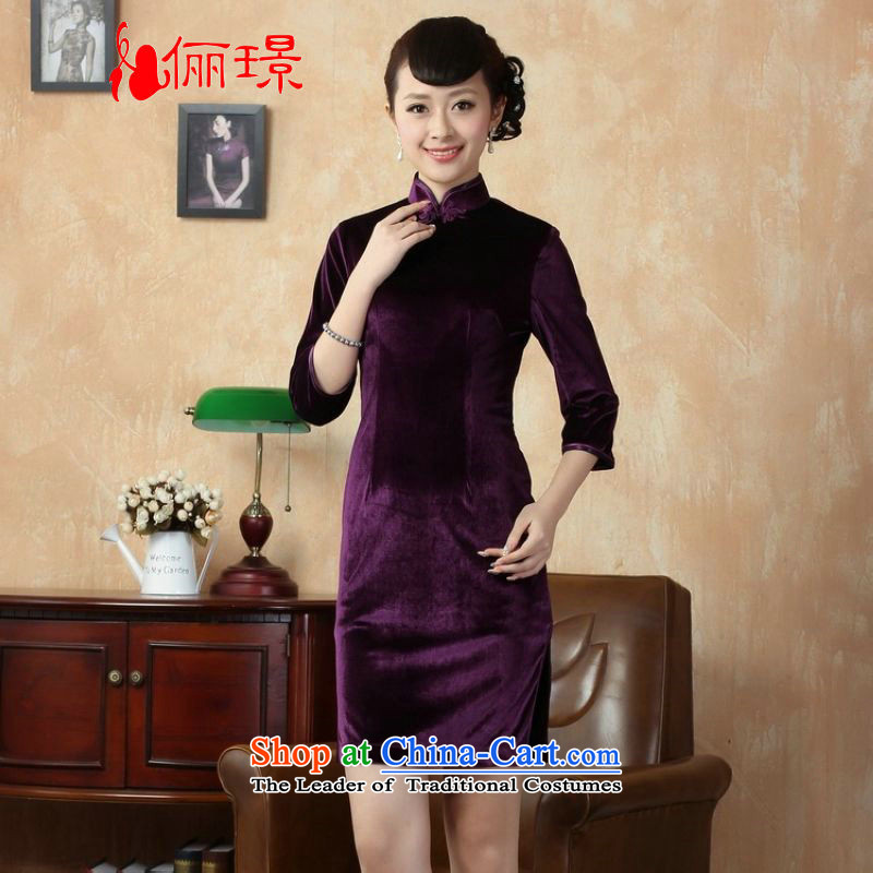 158 Jing New Pure color and the Stretch Wool qipao seven gold cuff cheongsam dress聽-B Violet Ms.聽M