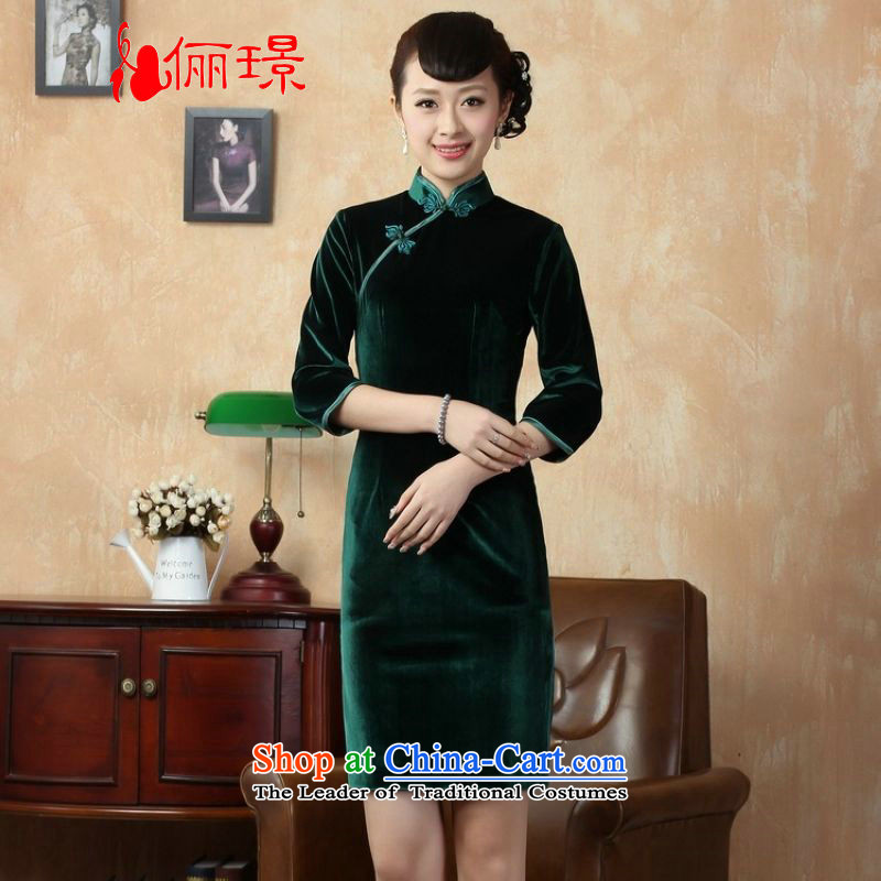 158 Jing Chinese cheongsam dress improved solid color and the Stretch Wool qipao seven gold cuff -C GREEN XL