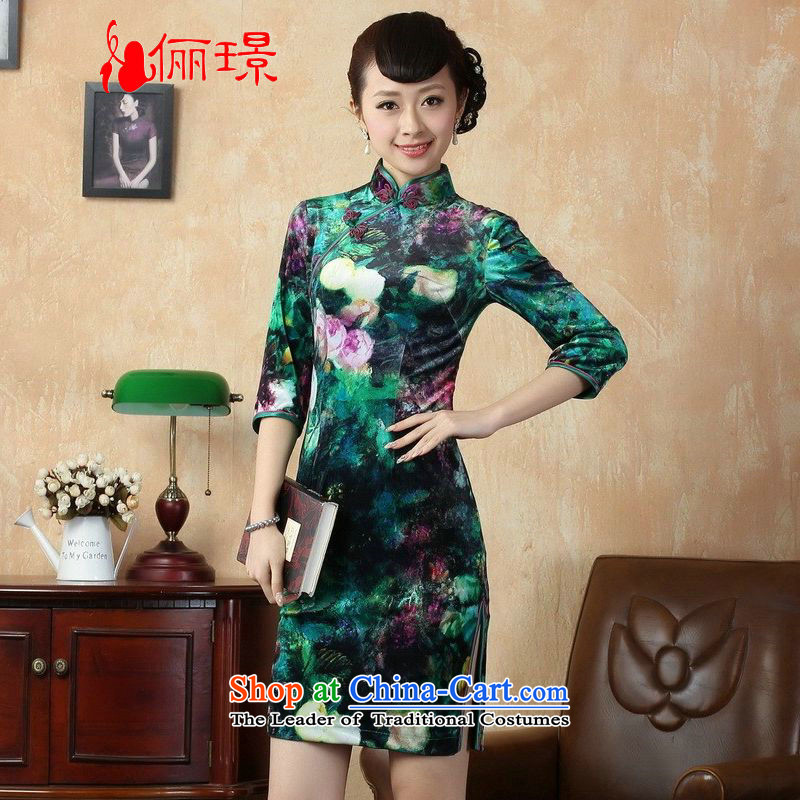 158 stylish Retro classic qipao 鏉庣挓 dress Stretch Wool poster in Kim short-sleeved qipao picture color聽XL