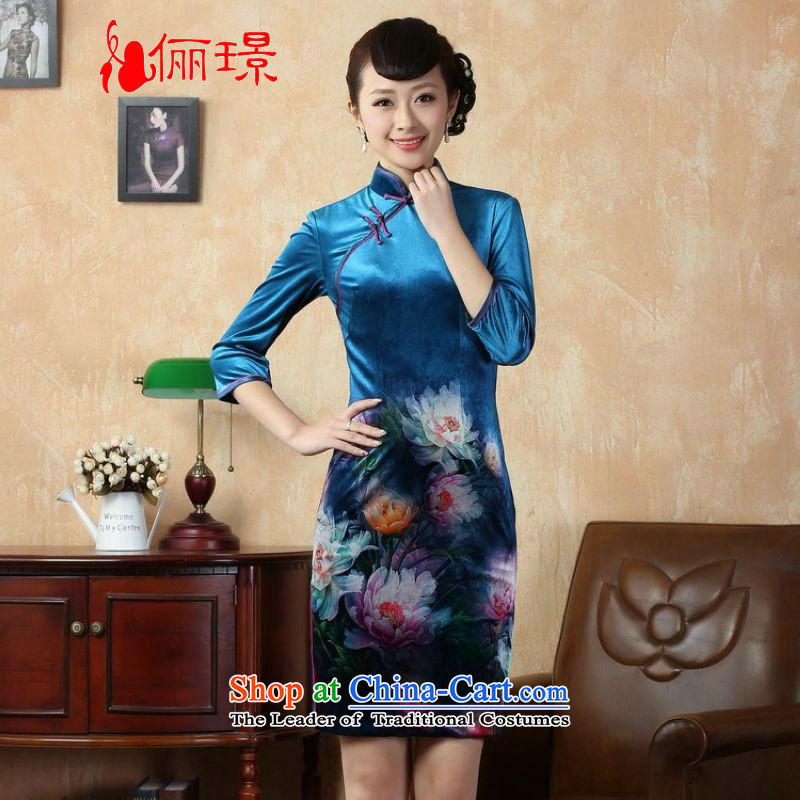 Ms. Li Jing cheongsam dress dress improved elastic Kim scouring pads Poster 7 cuff peony flowers cheongsam picture color燲L