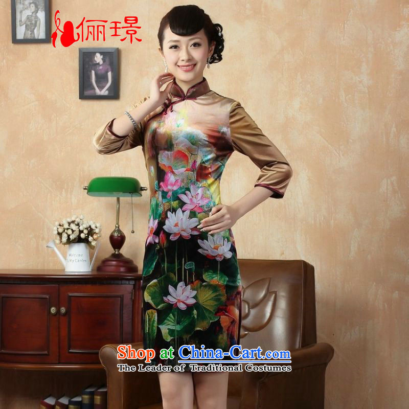 Ms. Li Jing cheongsam dress classic skirt retro collar velvet lotus short-sleeved picture 7 qipao color XL