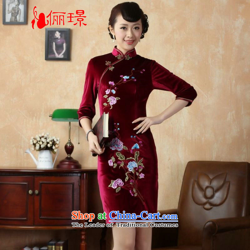 Ms. Katherine cheongsam dress to skirt collar elastic Kim embroidered short-sleeved qipao in a Phillips aubergine S