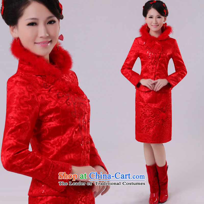 The privilege of serving-leung 2015 new spring red Chinese wedding dress toasting champagne bride service of Qipao Red�L_46 cotton folder