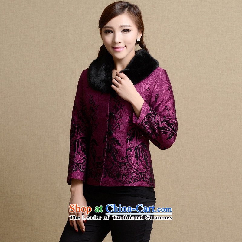 The Cave of the elderly in Tang Dynasty Older Women�2015 autumn and winter coats and stylish large female embroidered Sau San code clip cotton Tang dynasty women�2035 purple�3XL N2033 red