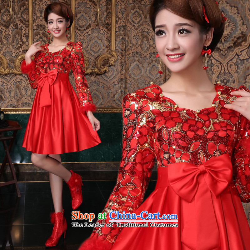 The privilege of serving-leung 2015 new autumn and winter red bride wedding dress Top Loin of pregnant women, bows to serve short QIPAO_ 3XL Winter